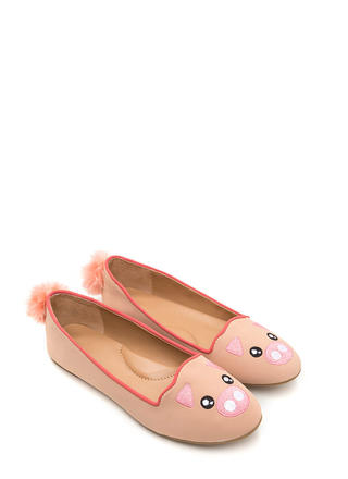 When Pigs Fly Embroidered Pom-Pom Flats