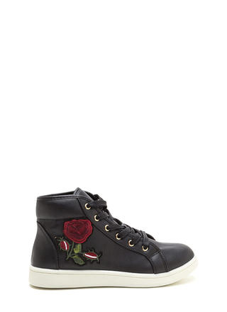 Rose Up Applique High-Top Sneakers