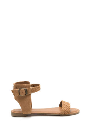 Be-weave Me Faux Suede Cut-Out Sandals