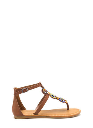 Ring True Beaded Faux Leather Sandals