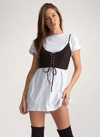 Try And Tie Again Lace-Up Crop Top