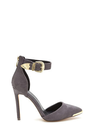 Belt It Out Pointy Metallic Accent Heels