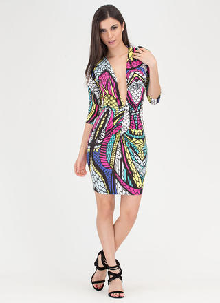 Jewel Tone Plunging Ruched Print Dress