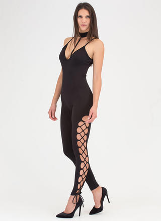 All The Best Lace-Up Choker Jumpsuit