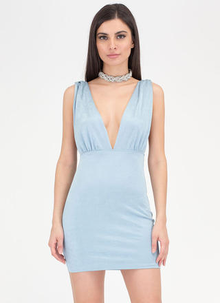 Slight Twist Plunging Open Back Dress
