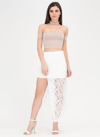 Pretty In Paisley High-Low Lace Skirt