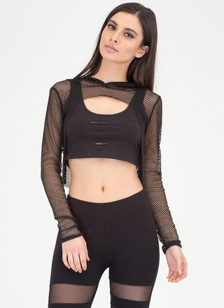 Caught In The Netted Cropped Hoodie