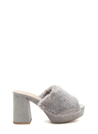 Fur Good Chunky Peep-Toe Mules