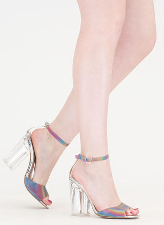 Taste The Rainbow Chunky Lucite Heels