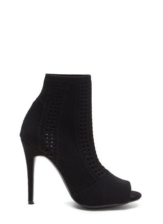 Knit Pick Peep-Toe Stiletto Booties