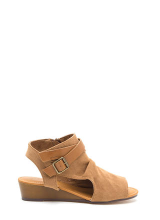 Good Coverage Faux Suede Wedge Sandals