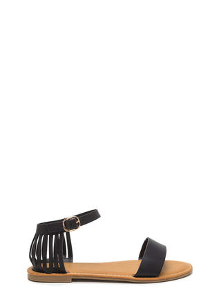 Behind Bars Cut-Out Faux Leather Sandals