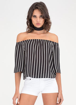 Up And Down Striped Off-Shoulder Top
