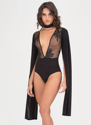 Long Story Sheer Cape Sleeve Bodysuit