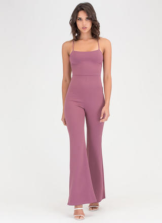 Cross Back Over Flared Leg Jumpsuit