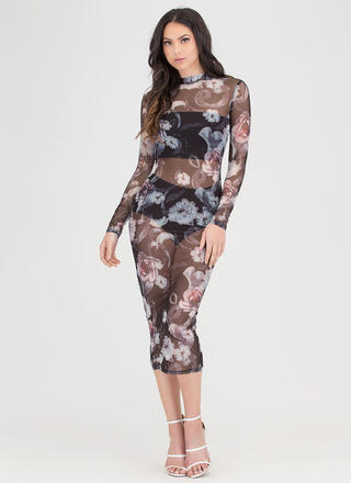 Floral Of The Story Sheer Midi Dress