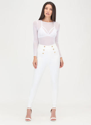 Sail Yeah Buttoned Skinny Pants