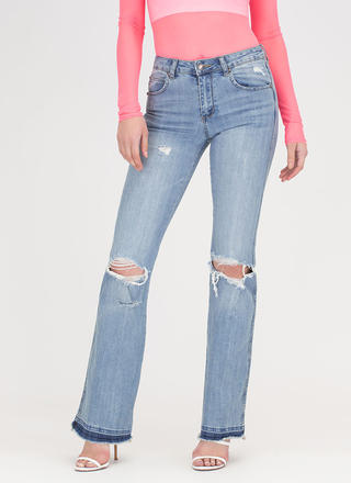 Flare And Impartial Distressed Jeans