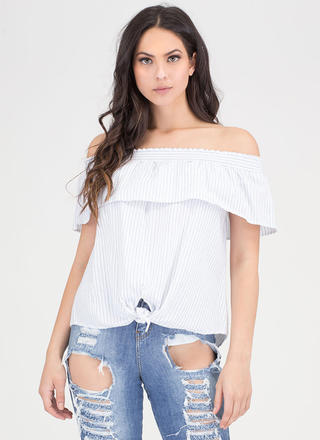 Knot The Average Stripe Off-Shoulder Top