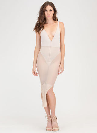 Inner Beauty Sheer Mesh Bodysuit Dress
