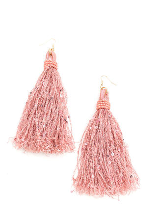 In Fringe Beaded Sequin Tassel Earrings