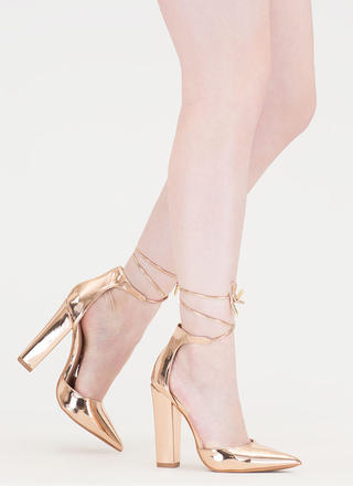 Just Pointy Out Chunky Lace-Up Heels