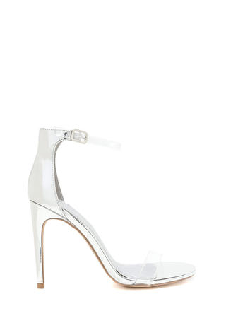 Clear History Metallic Faux Patent Heels