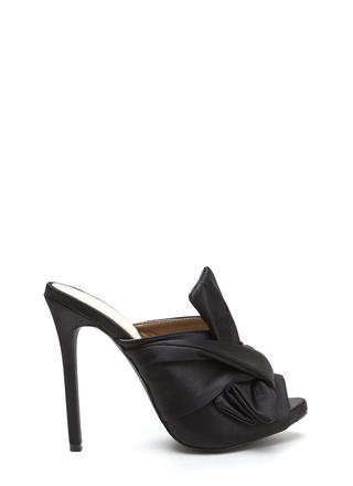 Satin With A Twist Knotted Mule Heels