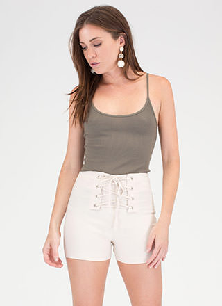 Due Corset High-Waisted Lace-Up Shorts