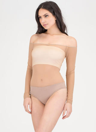 Sheer Thing Off-Shoulder Mesh Bodysuit