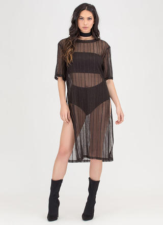 Sheer You Go Striped Double Slit Dress
