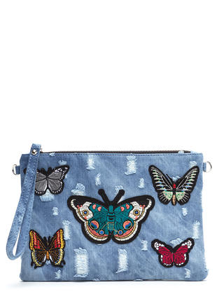Butterfly Effect Distressed Denim Clutch