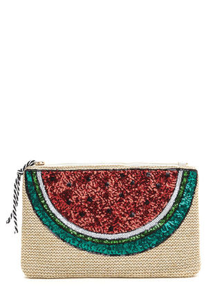 Fruit Ninja Sequined Woven Clutch