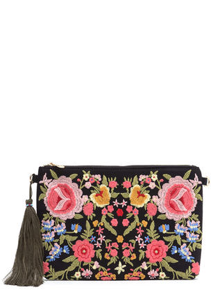 Floral Support Flat Embroidered Clutch