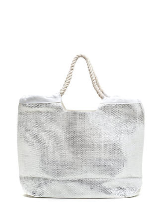 Vacation Vibes Woven Metallic Tote Bag