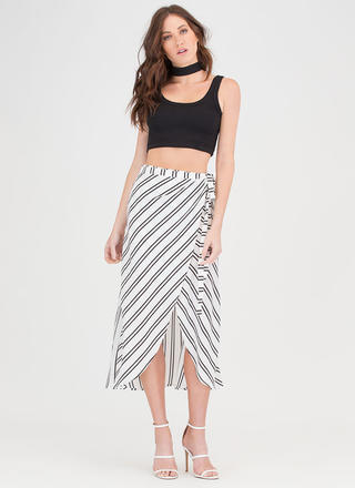 Stripe For The Pick Wrap Midi Skirt