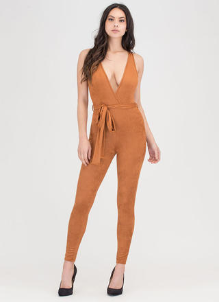 Chic 4 You Plunging Faux Suede Jumpsuit