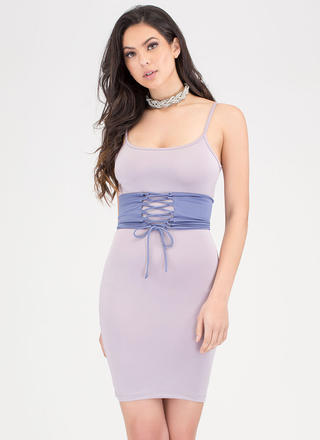 Yes Of Corset Colorblock Lace-Up Dress