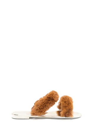 Double Up Furry Strap Jelly Sandals