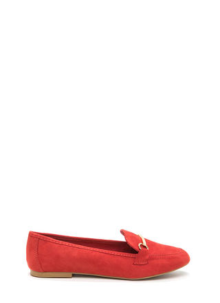 Bar Ring Any Issues Faux Suede Flats