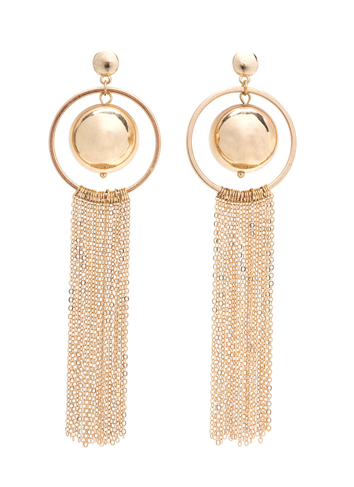 Shiny Ball 'N Chain Fringe Earrings