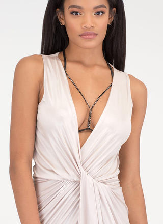 Striking Look Faux Leather Jeweled Body Chain