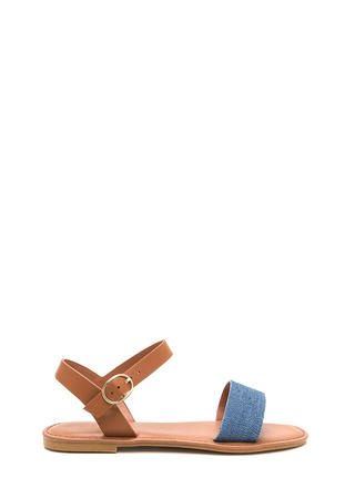 Chic About It Denim Mixed Media Sandals
