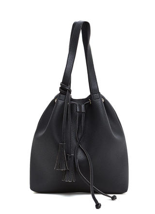 Complete Package Faux Leather Bucket Bag