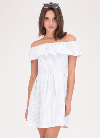 Flirty Flare Striped Off-Shoulder Dress
