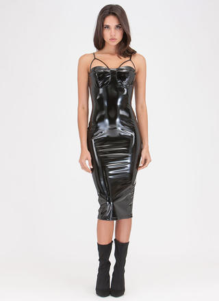 Painted On Strappy Faux Patent Dress