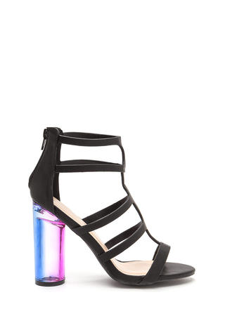 Clearly Winning Chunky Caged Ombre Heels