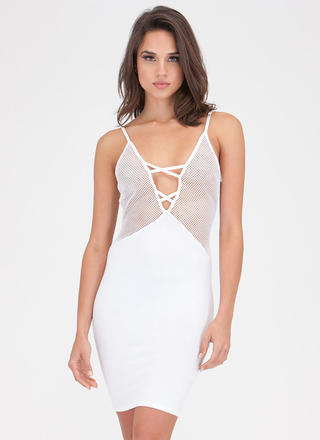 Surf The Net Plunging Sports Mesh Dress