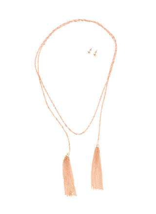 Two Perfect Tasseled Lariat Necklace Set