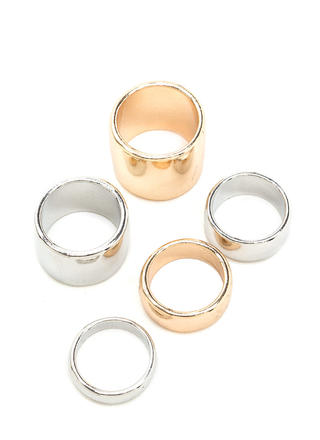 Chunky Town Mixed Metal Ring Set